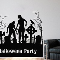 Wall Decals Halloween Party Decal Zombie Crows Decal Vinyl Sticker Home Art Bedroom Home Decor Art Mutal Room Decor Wall Art Halloween Party Decor MS608