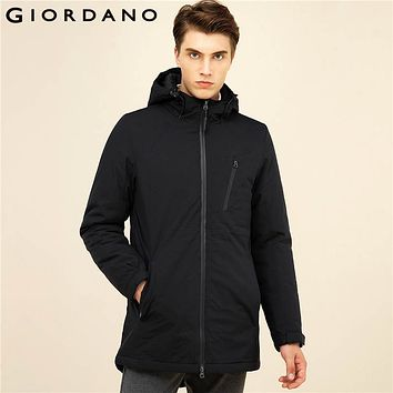 Giordano Men Jacket Solid Hooded Waterproof Coat Long Sleeves Stand Collar Quilted Coat Casual Pockets Cotton Coat Mens Clothing