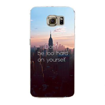 Samsung Galaxy S7 Edge Soft Silicon TPU City Poetic Words Printed Case Back Cover