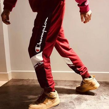 Champion Popular Women Men Leisure Contrast Color Logo Print Sport Stretch Pants Trousers Sweatpants Joggers Wine Red