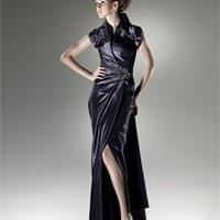 Dark navy Satin mermaid short sleeves 2011 Love by Enzoani Prom Dresses EPD0076