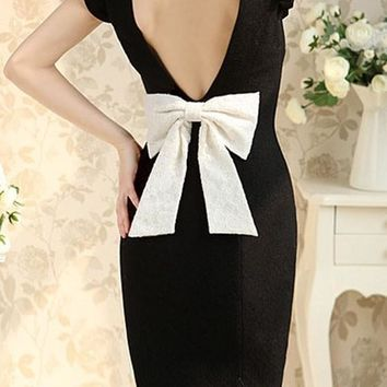 Streetstyle  Casual Black Patchwork Bow Ruffle Backless Peter Pan Collar Mini Dress