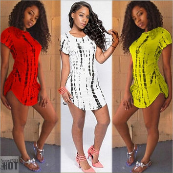 New Arrival Summer Women Club Short Party Print Dresses Plus Size Bandage Crop Top t Shirt Dress = 1932601028