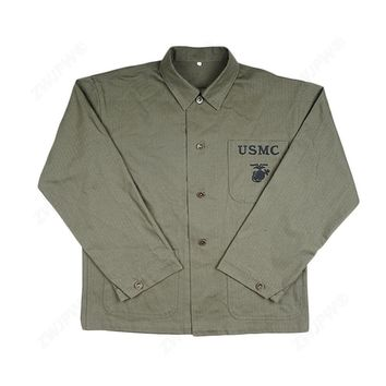WW2 US SOLDIER MARINE USMC PLAIN GREEN HBT ARMY FIELD COAT JACKET TOPS IN SIZES - World military Store