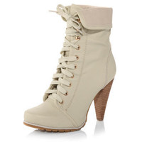 Cream lace-up collar boots - View All Shoes  - Shoes  Boots  - Dorothy Perkins