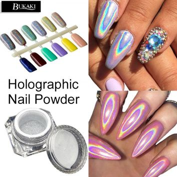 3D Rainbow Pigment Chrome Nail Powder Nail Gel Lacquer Nail Glitter Hologram Rainbow Holographic Powder