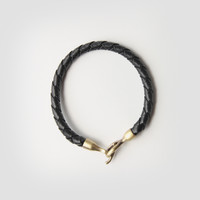 Braided Passage Genuine Leather Bracelet in Black