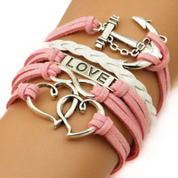 Vintage Infinity Love Heart Anchor Leather Charm Bracelet Plated Silver Chain = 1932948100