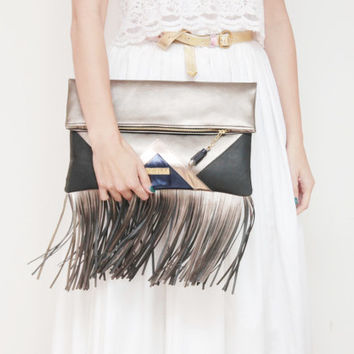 CARRIER 27  / Large fringed leather fold over daily clutch bag -  Ready to Ship