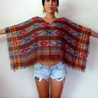 Up-Cycled Navajo Poncho Ethnic Brown Cover Up