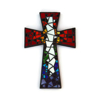 "Mosaic Wall Cross, Large, Black with Rainbow + White Glass, Handmade Stained Glass Mosaic Cross Wall Decor, 15"" x 10"""