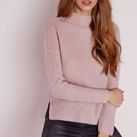 Missguided - Funnel Neck Knitted Jumper Mauve
