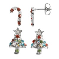 Crystal Silver-Plated Candy Cane & Christmas Tree Stud Earring Set