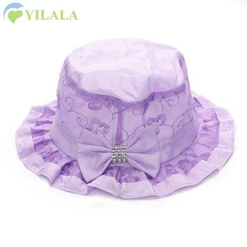 Sweet Baby Girls Hat With Bow Panama Summer Sun Cap Cute Lace Bucket Cap Toddler Girl Hats Kids Sun Hat Baby Girls Clothing