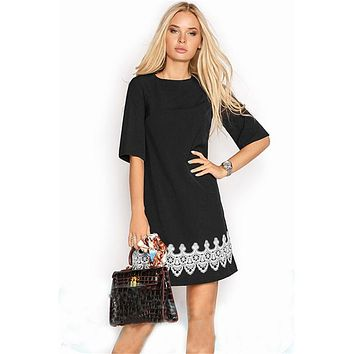 New Arrival 2018 Summer Women Fashion Lace Casual Mini Dress Black White Short Sleeve O-Neck Beach Tshirt Dresses
