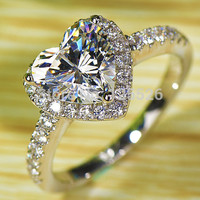 Victoria Wieck Heart shape White Clear AAA CZ  Simulated stones 925 Sterling Silver Stunning Wedding Women Ring Gift Size 5-10