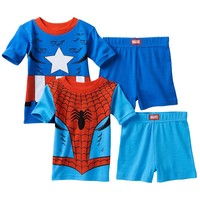 Spider-Man & Captain America Pajama Set - Toddler Boy, Size: