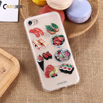 CASEIER For iPhone 5 5s SE 6 6s 6 Plus 6s Plus 7 7 Plus Case Cute Clear Sushi Embossed Relief Case For Samsung S6 S7 Edge Cover