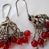 Vintage Silver Bedouin Chandelier Earrings with Red Glass Dangles