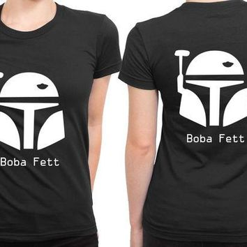 ONETOW Star Wars Character Boba Fett 2 Sided Womens T Shirt