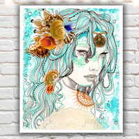 mermaid hair - fine art print, 40 works in 40 days, mixed media illustration, bohemian art, mermaid art, mermaid decor, aqua blue green art