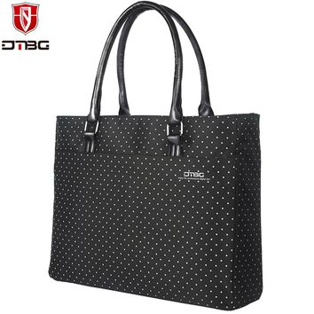 2017 DTBG Briefcase Laptop Bag 15.6 Inch Laptop Handbag Women Tote Lovely Dots Girl Waterproof Computer Bags for Dell Lenovo HP