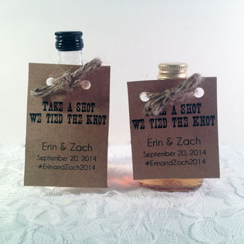 50 Mini Alcohol Bottle Tags - Unique Wedding Favors - Wedding Favors  - Take a Shot We tied the knot Favor - Thank you tags - Custom Favors