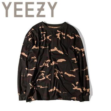 DCCKIJ2 Kanye West YEEZY Camouflage T Shirt 1:1 High Quality SEASON 1 Summer Justin Bieber Clothes  Military Army Camo YEEZUS T-shirts
