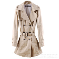 Khaki Long Sleeve Notched Collar Long Trench Coat With Adjustable Waist