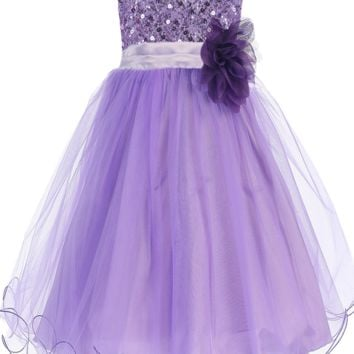 Lavender Sequined Bodice Dress with Lettuce Hem Tulle Skirt Girls 2T-14