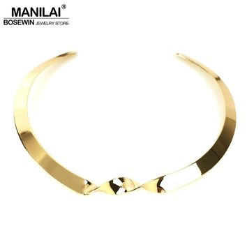 MANILAI Shiny surface Metal Twist Punk Simple Necklaces For Women 2018 Fashion Jewelry Bib Collar Choker Necklace Geometric