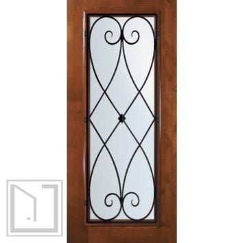 Slab Entry Single Door 80 Wood Alder Charleston Full Lite