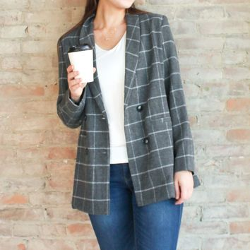 Madelyn Wool Blazer Jacket - Grey