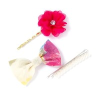 Fabric Flower, Bow and Pearl Bobby Pins Set of 3  | Icing