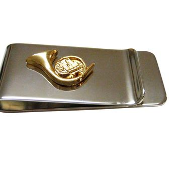 Gold Toned French Horn Musical Instrument Money Clip
