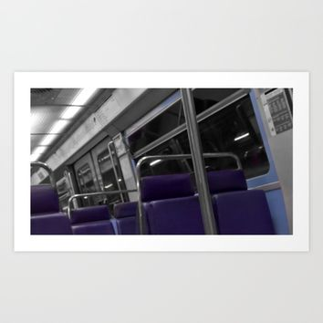 paris metro black and white with color Art Print by Mr Splash