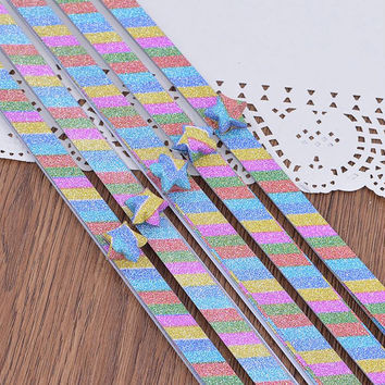 Folding Star Origami / Paper Lucky Star Assorted Paper / Craft Supplies / Favour Strips 20 Stripes Rainbow Glitter Shiny Star Paper