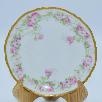 BC Fleur de Lys Limoges Appetizer Plates Set of 2 Vintage French Shabby Chic Pink Floral Small Plate Pair Gilded Scalloped Salad Plates