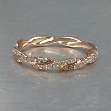 Curved Diamond Full Eternity Wedding Ring,Solid 14K Rose gold,Anniversary Ring,Art deco style,stackable ring,Natural Gemstone,Unique Twisted