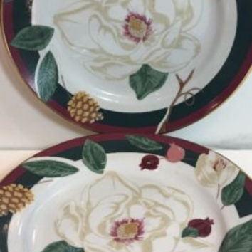 Tienshan Fine China Red Green Bands White Flowers Cones Gold Trim 3 Salad Plates