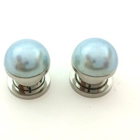 Light grey pearl plugs / 2g, 0g, 00g, 1/2 inch / pearl gauges / bridesmaid jewelry / grey plugs / professional plugs / gray gauges