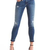 Mid rise destructed true skinny ankle jeans   Gap