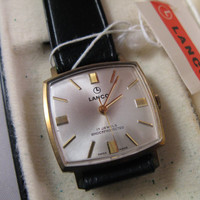 Vintage rare Lanco Swiss watch 17j NIB with tags men's wristwatch