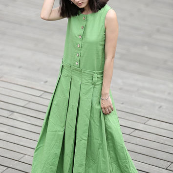 Linen Long Dress in green- CF034