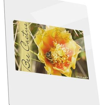 Bee Cactus with Text Metal Panel Wall Art Portrait - Choose Size