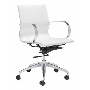 Modern Conference Office Chair Mid Back, White