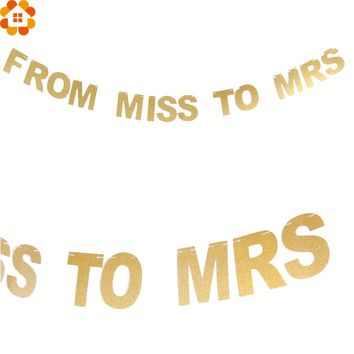 From Miss to Mrs Party Favors Gold Glitter Banner DIY Paper Flags Garland Bunting Banners Wedding/Bachelorette Party Decoration
