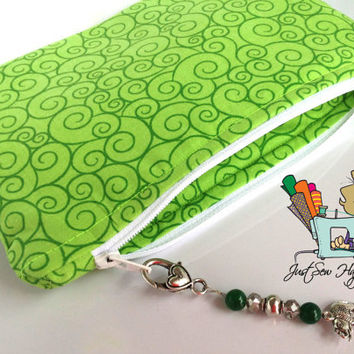 Green Makeup Bag with Beaded Zipper Pull Cosmetic Bag