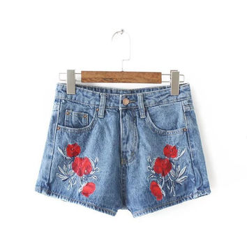 Summer Rinsed Denim Floral Embroidery Denim Pants Shorts [6332312644]