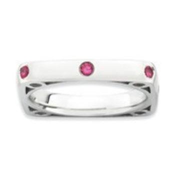 Sterling Silver Polished Ruby Square Ring